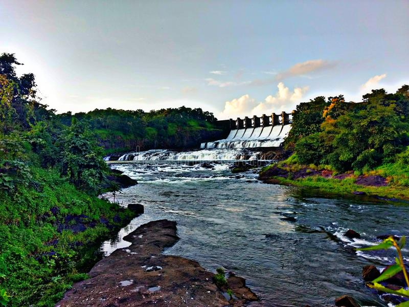 Beautiful dam with river royalty free stock photos