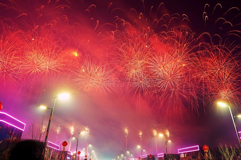 The fireworks on the Motor city in Lantern Festival. The photo was taken in Motor City of Daqing city,Heilongjiang province, China.It was setting off fireworks stock images
