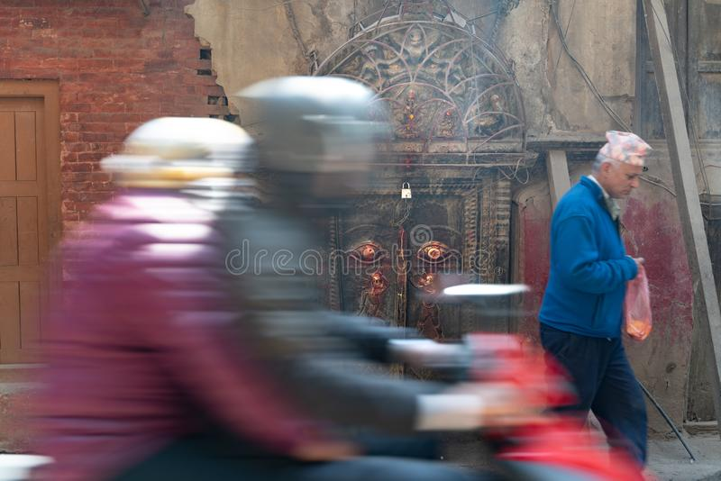 Kathmandu-18.03.2019: The ancient old gate in Kathmandu. The photo was taken during my one year trip around Asia stock photo