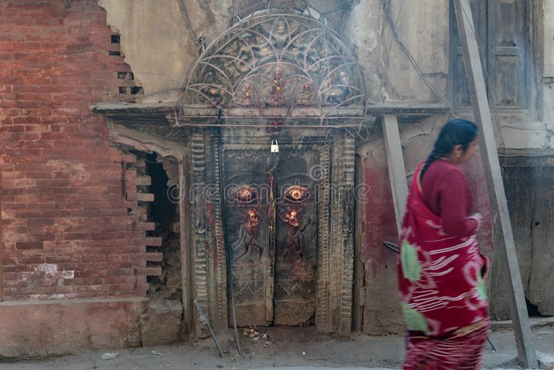 Kathmandu-18.03.2019: The ancient old gate in Kathmandugate. The photo was taken during my one year trip around Asia royalty free stock images