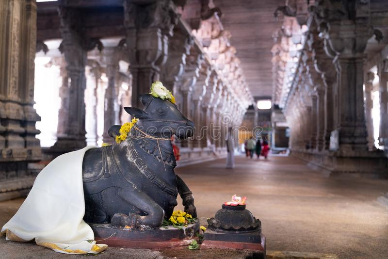 Tamil Nadu/India-25.01.2019:The view inside the old hindu temple in India stock images