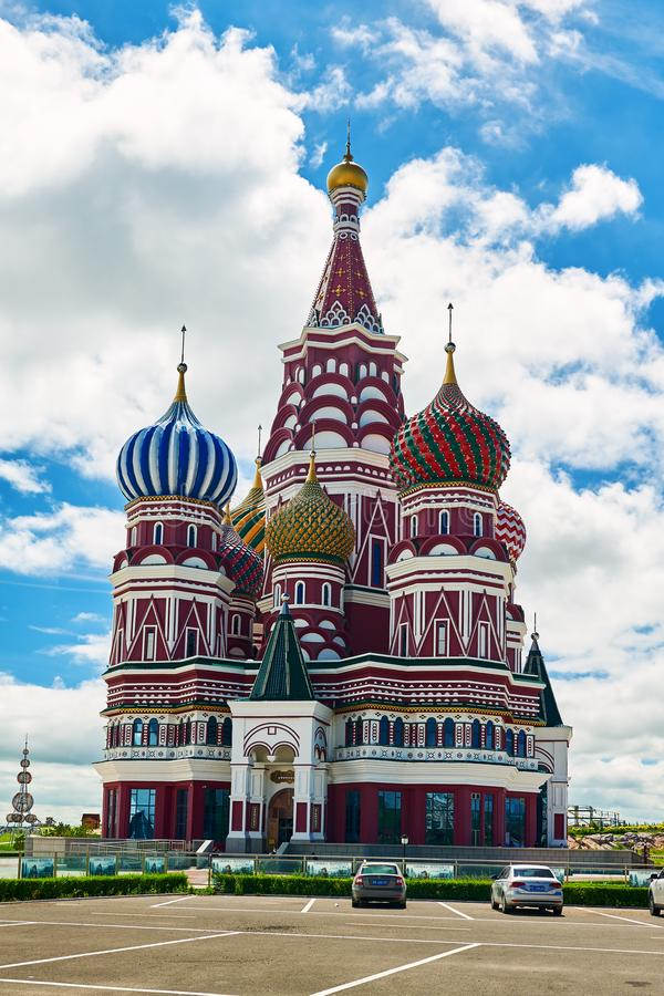 The beautiful russian architecture in NZH Manzhouli in Inner Mongolia, China. The photo was taken in NZH Manzhouli in Inner Mongolia, China stock photos