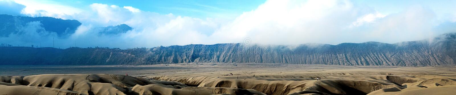 Panoramic photo of bromo mountain in Malang Indonesia. This photo was taken sometime in 2012, at which time the mountain bromo was declared active stock photos