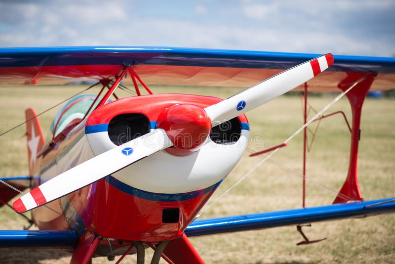 Plane on a field waiting to take off royalty free stock photo