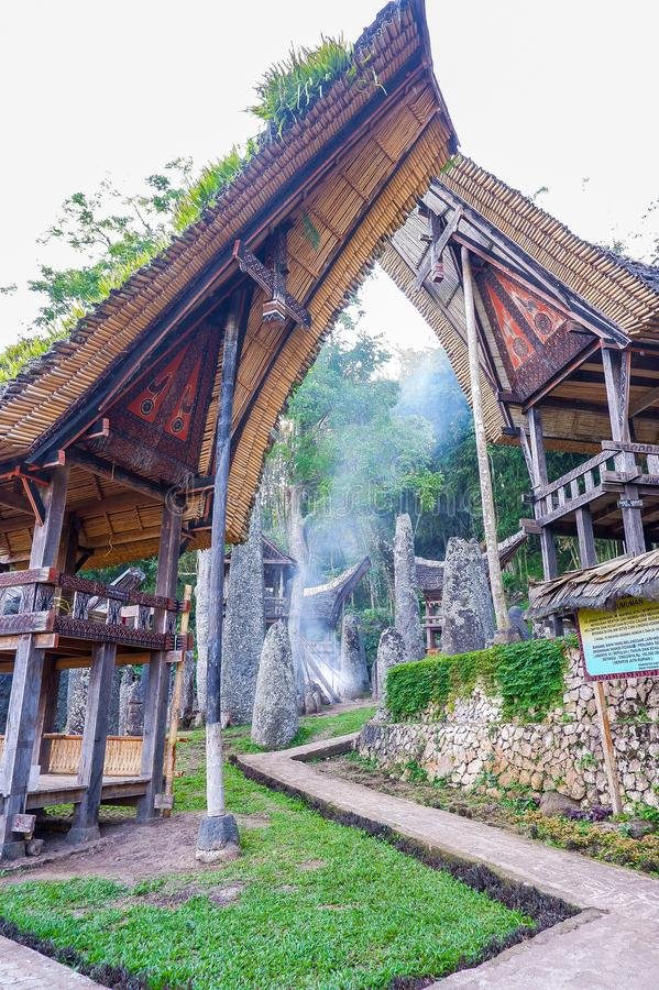 The traditional villages at Tana Toraja, Sulawesi. This photo was taken in Tana Toraja, Sulawesi, Indonesia. Tana Toraja is located in the norhtern highlands of royalty free stock images