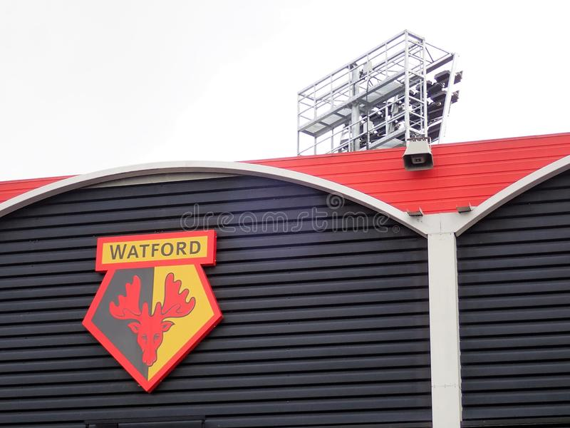Side wall of Watford Football Club stadium, Vicarage Road, Watford. This photo was taken in Watford, Hertfordshire, England, UK stock photography