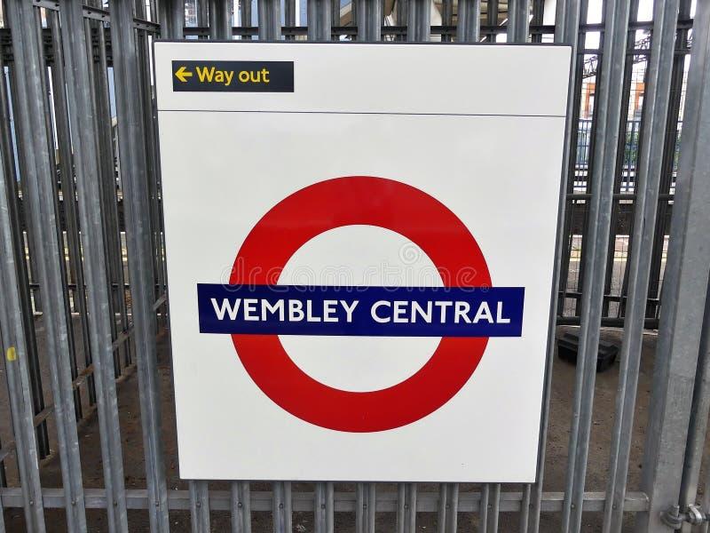 Wembley Central London Underground Metropolitan railway roundel sign stock photography