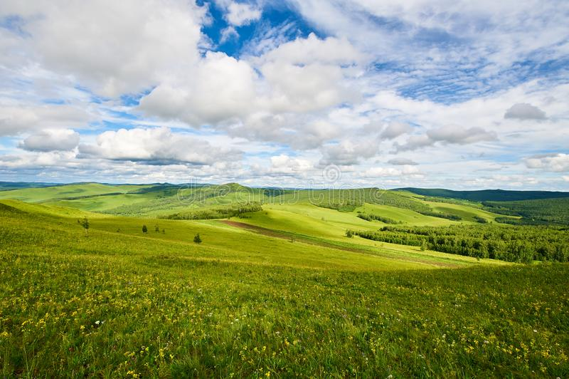 The cloudscape and prairie royalty free stock images