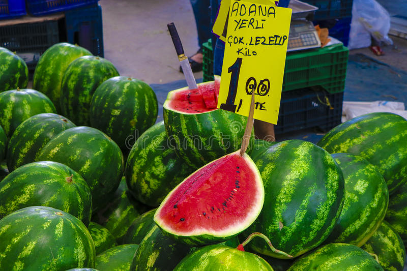 Photo of a Watermelon on sale in a bazaar in Izmir, Turkey royalty free stock photo