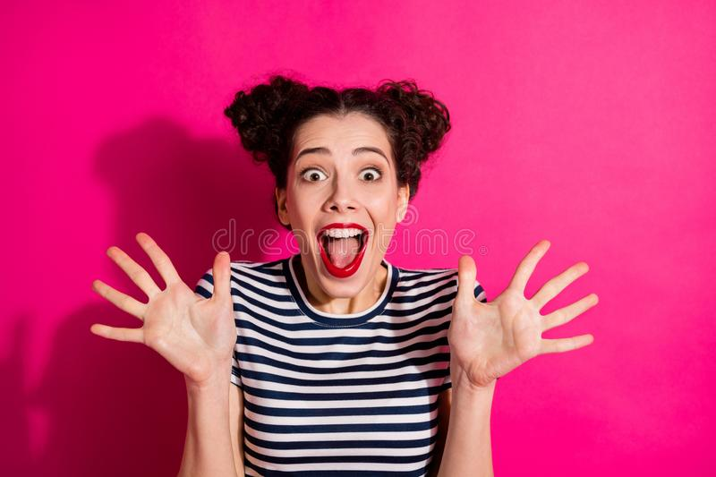 Photo of wavy charming cheerful nice cute rejoicing woman screaming with happiness showing you her palms hands isolated stock images