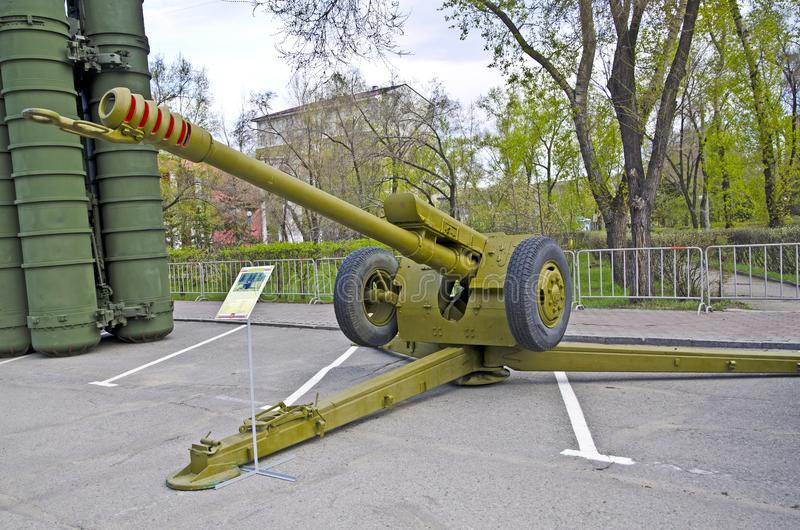 Russian military equipment close-up. In the city. Peace time. Artillery gun Howitzer royalty free stock photography