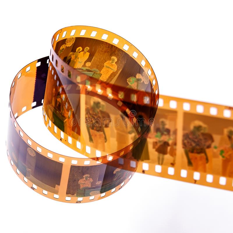 photographic retro-symbol for the shooting process, photochemical laboratory process and technology of the archive of films. stock image