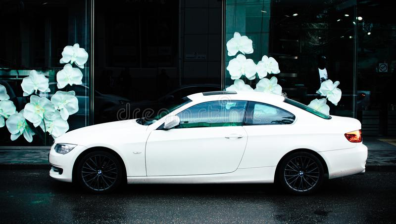 Photo of White Car at the Street stock image