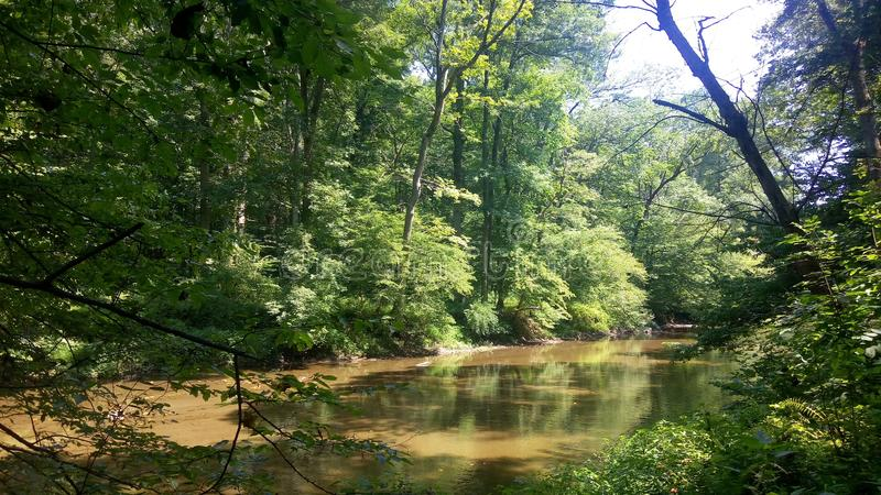 Photo of a creek in Delaware. Photo of White Clay Creek State Park in Delaware royalty free stock photos