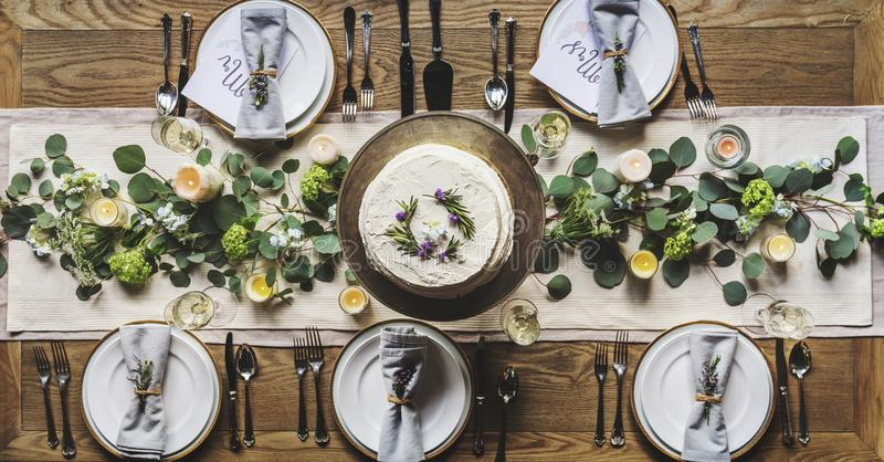 Photo of White Dinnerware Plate Set on Table stock image