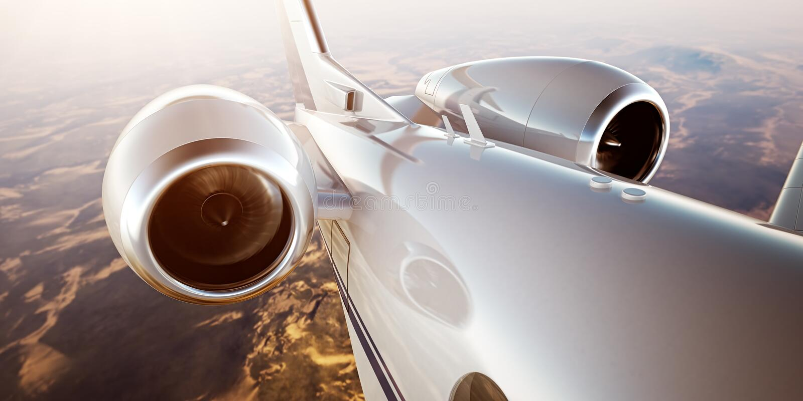 Photo White Luxury Generic Design Private Jet Flying in Blue Sky at sunrise.Closeup Picture of two Reactive Turbine.Mans royalty free illustration