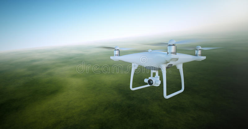 Photo White Matte Generic Design Air Drone with video action camera Flying Sky under the Earth Surface. Green Fields royalty free stock photo