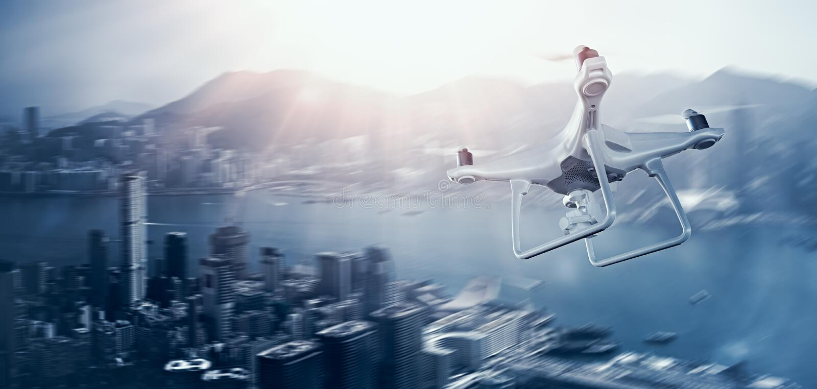 Photo White Matte Generic Design Remote Control Air Drone with action camera Flying Sky under City. Modern Megapolis stock image