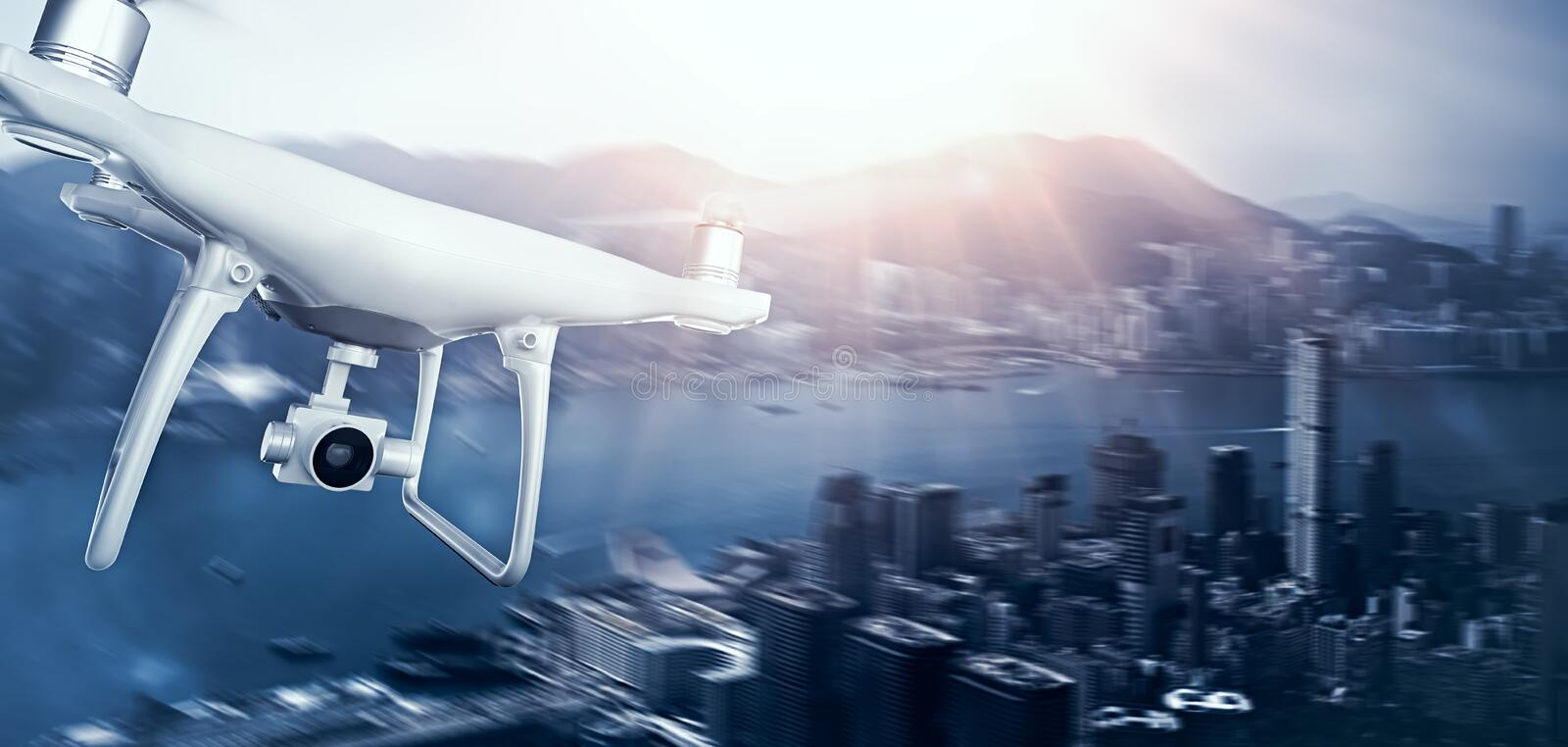 Photo White Matte Generic Design Remote Control Air Drone with action camera Flying Sky under City. Modern Megapolis. Background. Wide, front side view. Motion vector illustration