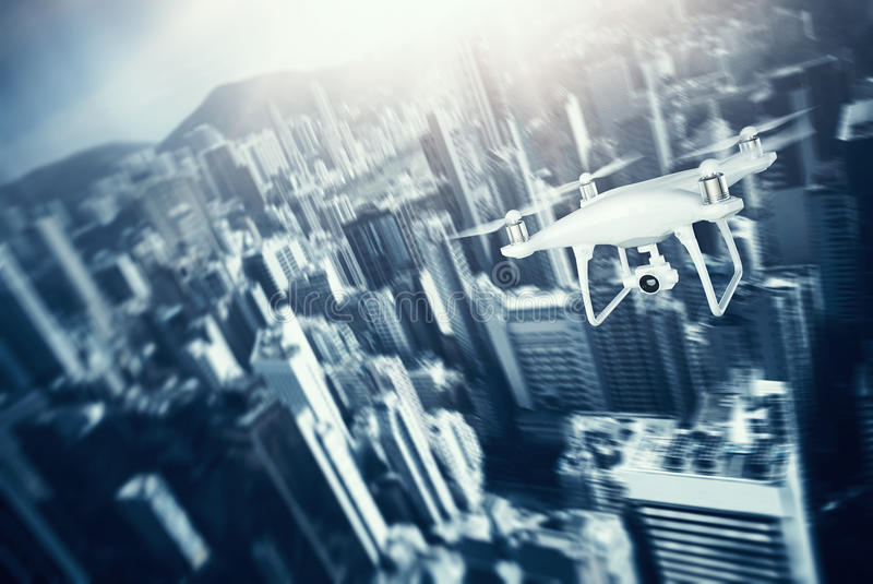 Photo White Matte Generic Design Remote Control Air Drone with action camera Flying Sky under City. Modern Megapolis. Background. Horizontal, front side view royalty free illustration