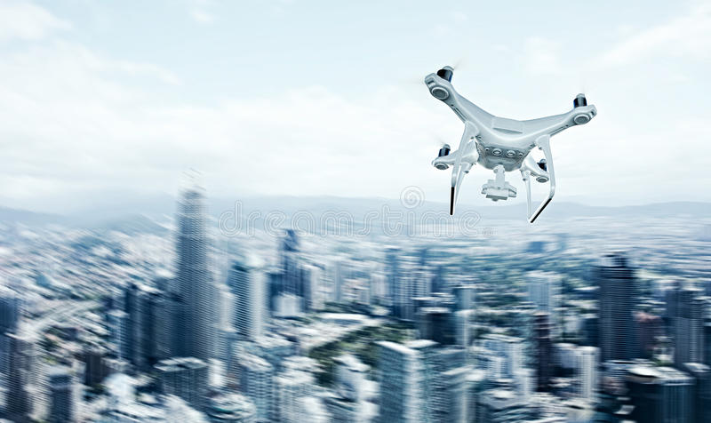 Photo White Matte Generic Design Remote Control Air Drone with action camera Flying Sky under City. Modern Megapolis. Background. Horizontal, back side view royalty free illustration