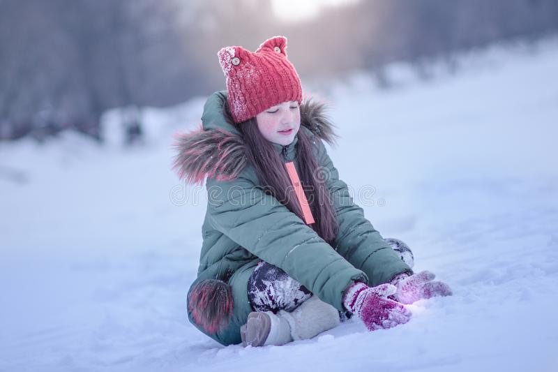 Photo wiht frozen girl in winter royalty free stock photo