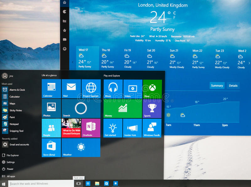 Photo of Windows 10 Insider preview running on a pc stock images
