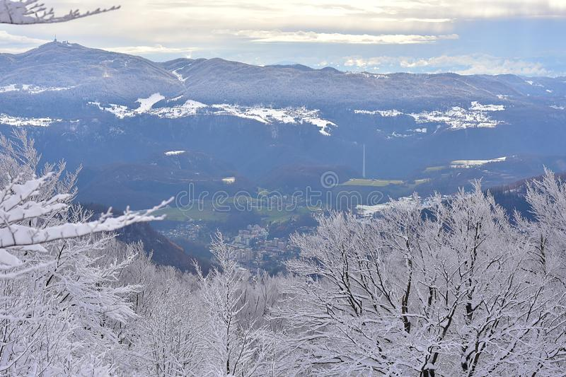 Winter landscape in Slovenia, Zasavje. On the photo is winter landscape from Slovenia. On the left you can see mountain Kum. In the middle of the photo is the royalty free stock photos