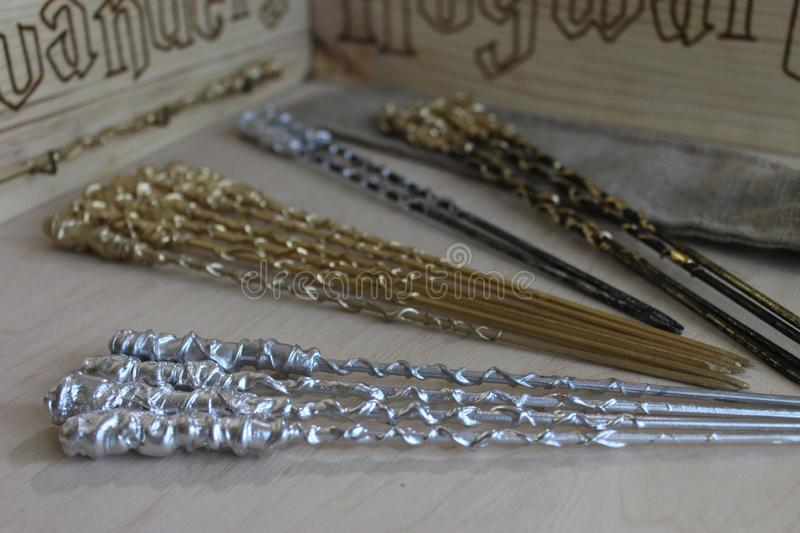 Harry Potter wizard wands. Photo of wizard wands from Harry Potter film stock photos