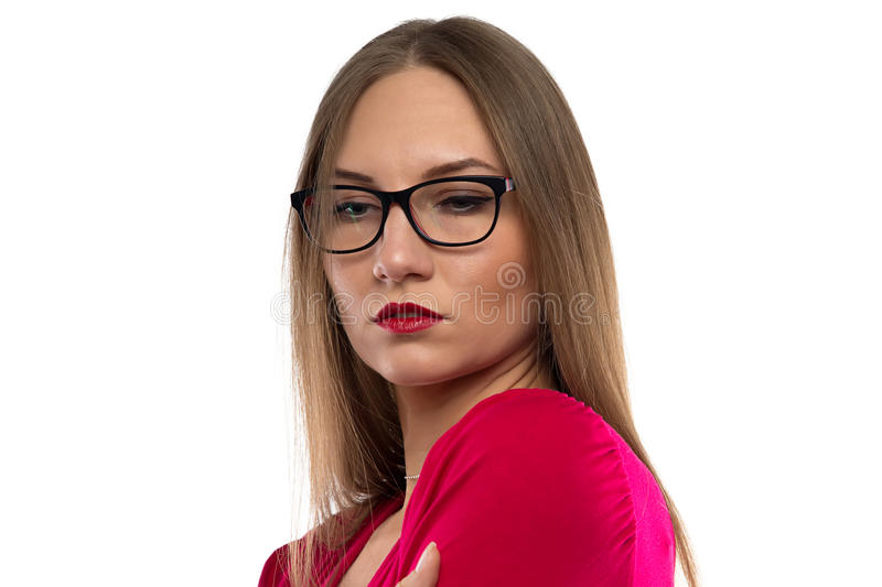Photo of woman with brown hair, looking down stock image