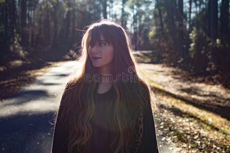 Photo of a Woman in the Forest stock photos