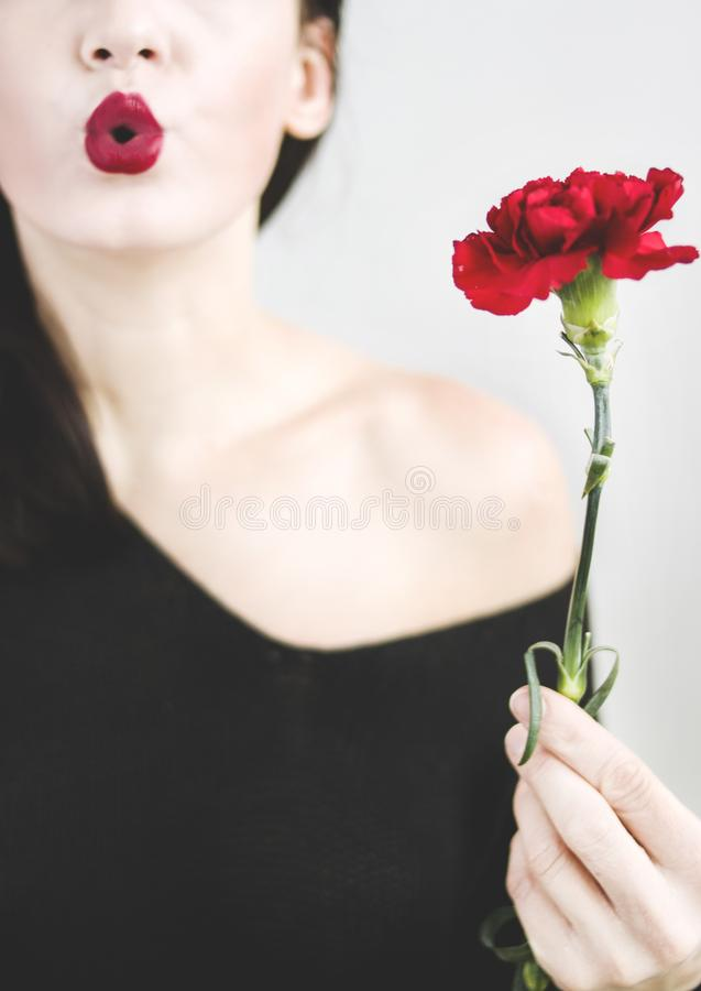 Photo of a Woman Holding Red Carnation Flower stock image