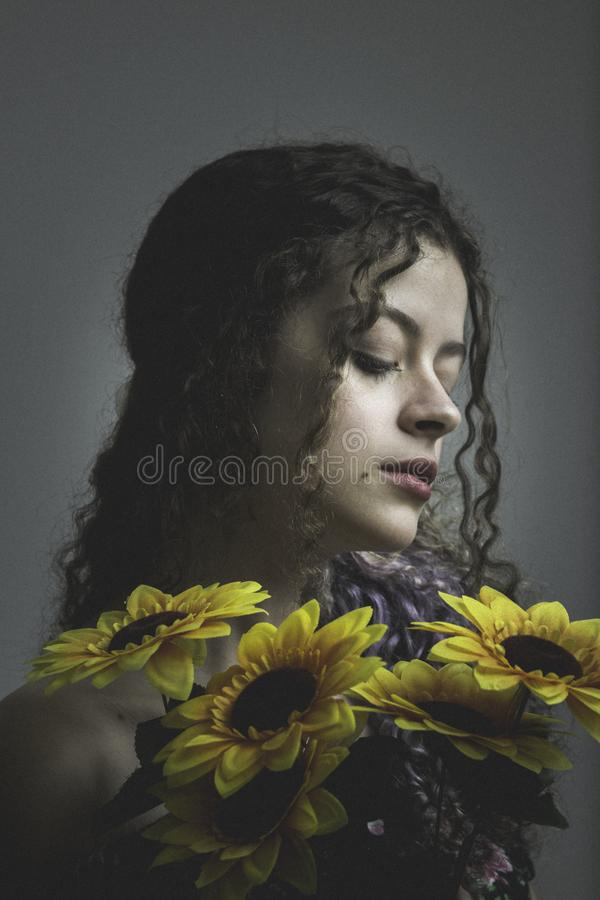 Photo Of Woman Holding Sunflowers Free Public Domain Cc0 Image