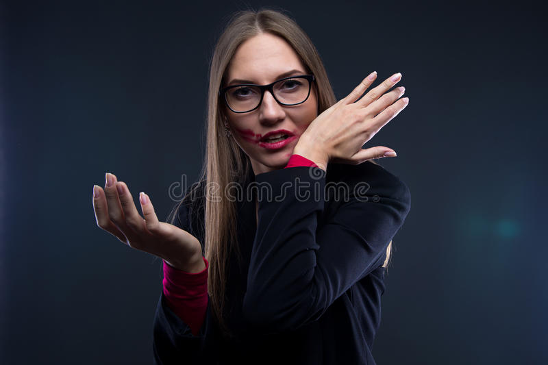 Photo of woman with smudged red lipstick royalty free stock photo