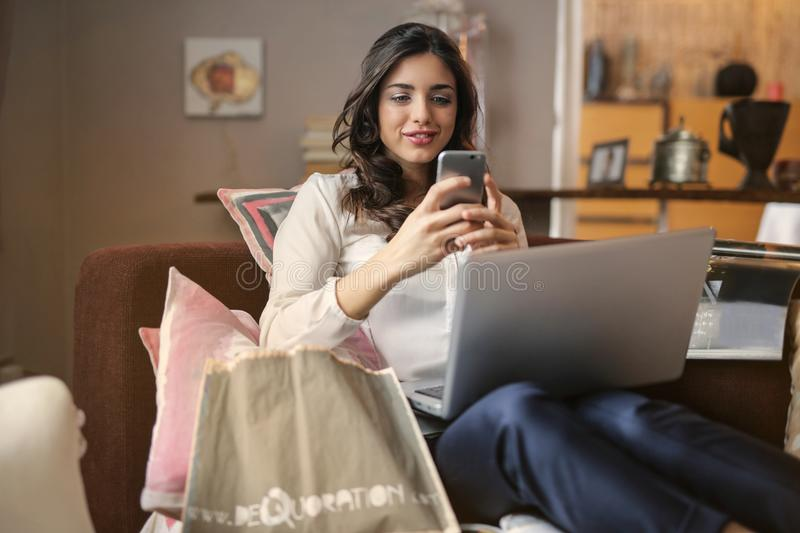 Photo of a Woman Using Her Smartphone royalty free stock photography