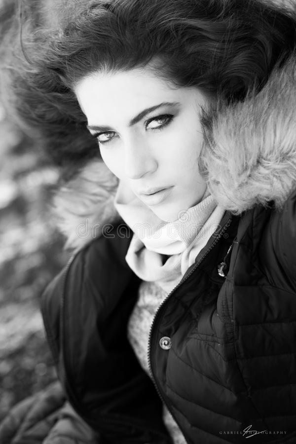 Photo of Woman Wearing Brown and Black Zip-up Parka Jacket stock image