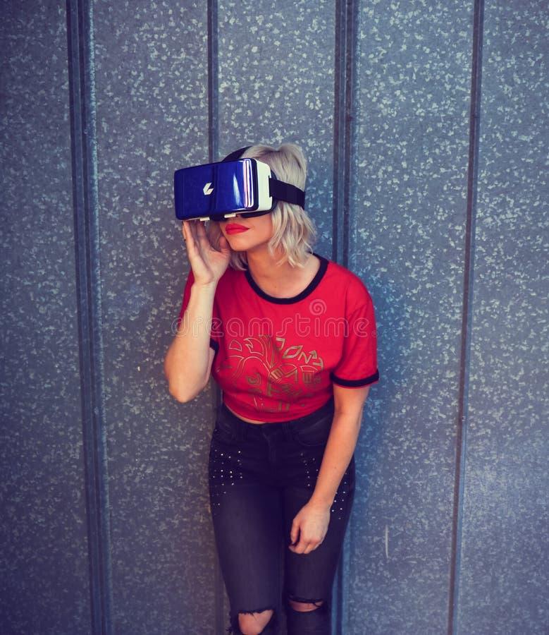 Photo of a Woman Wearing Virtual Reality Headset stock image