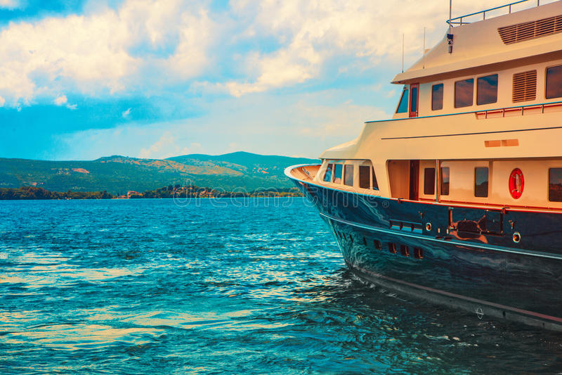 Photo of yacht on sea at daytime. In porto montenegro royalty free stock photos