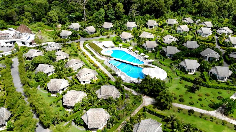 Beautiful guest chalets on one of the Islands of Oceania. In the photo You can see Beautiful guest chalets on one of the Islands of Oceania stock photography