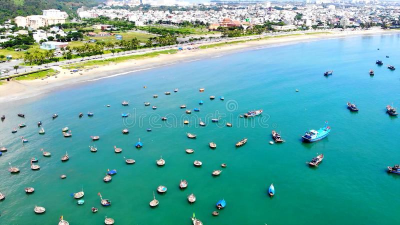Coastal urban area with picturesque views of fishing boats. In the photo You can see Coastal urban area with picturesque views of fishing boats royalty free stock images