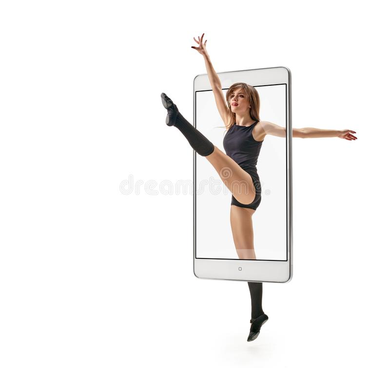 Female dancer jumping royalty free stock photo