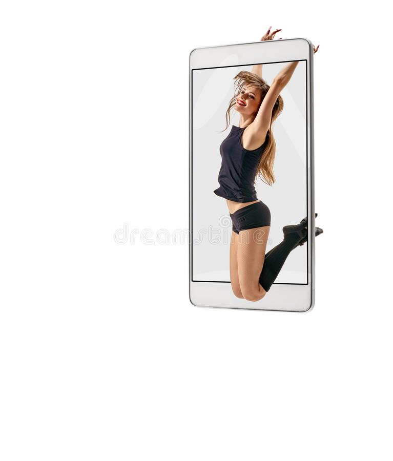 Female dancer jumping royalty free stock images