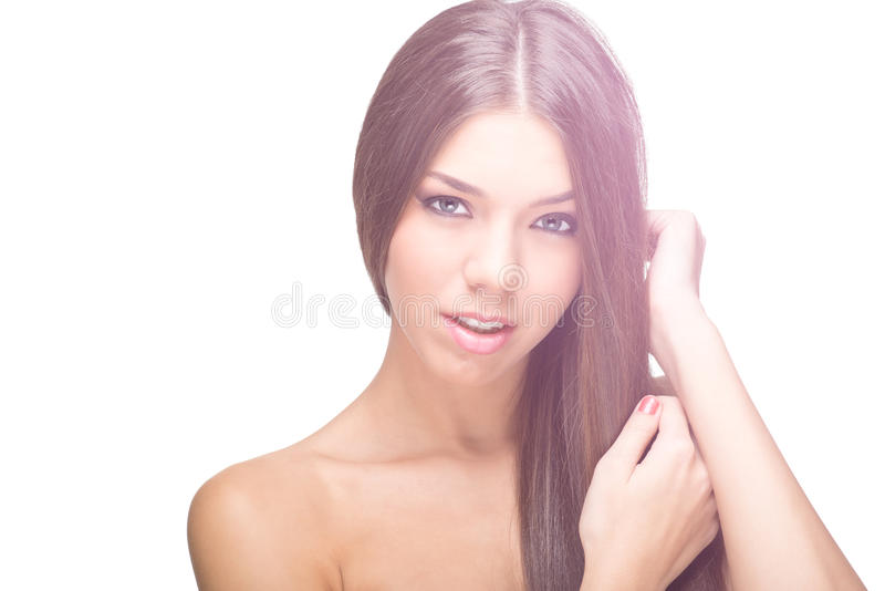 Photo of young beautiful woman with magnificent hair stock images