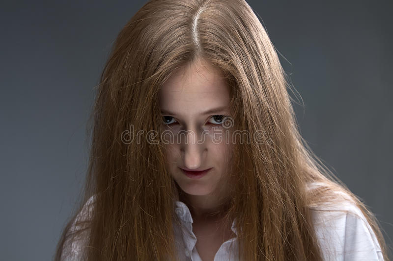 Photo of young psycho woman stock photos