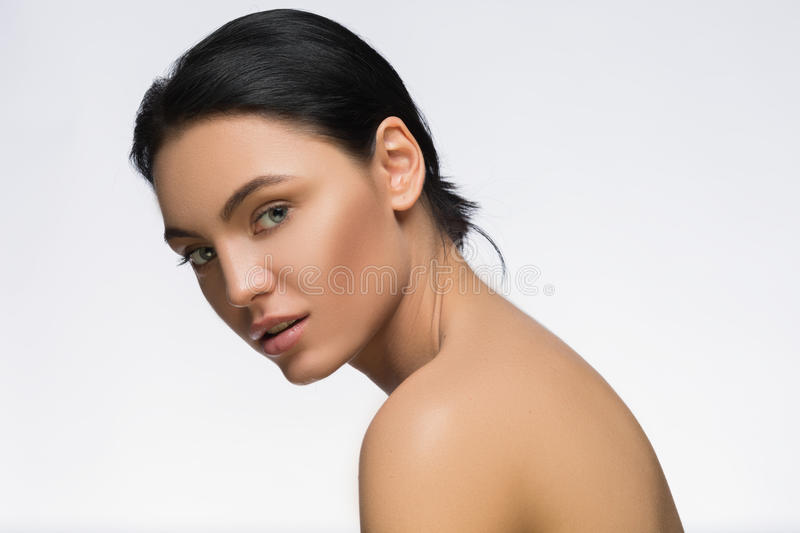 Photo of young woman with beauty long hair. Fashion and model side view portrait. spa stock image
