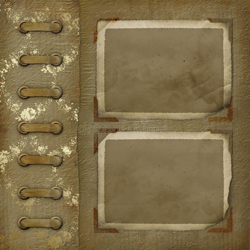 Photoalbum velho com frame de dois grunge para fotos ilustração do vetor