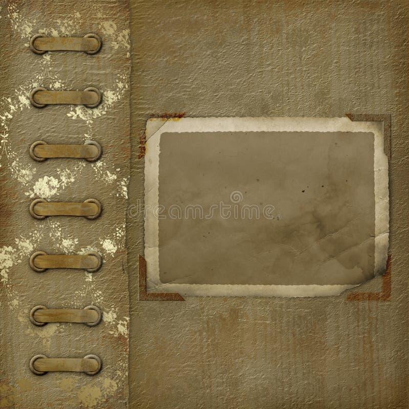 Photoalbum velho com frame do grunge para fotos ilustração do vetor