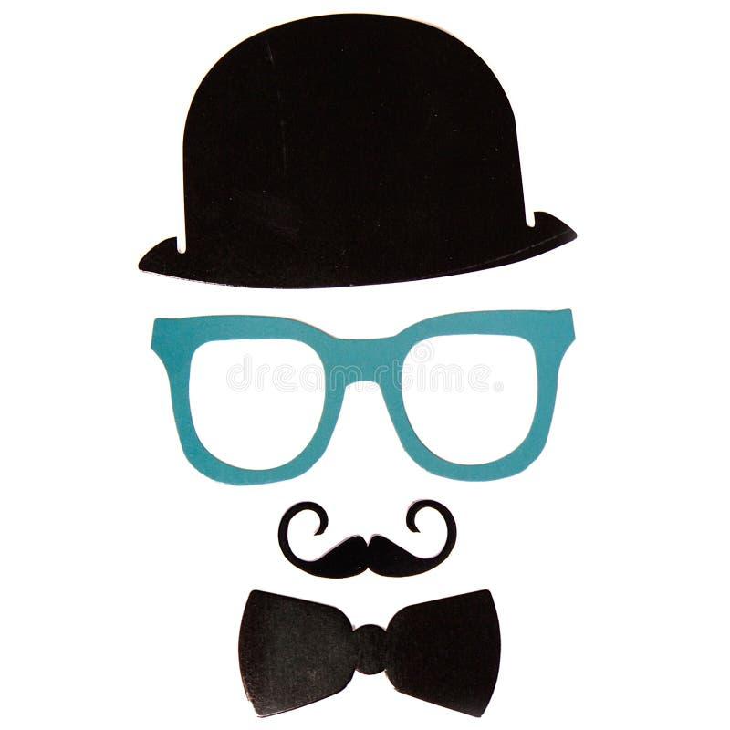 Photobooth生日和党设置了-玻璃,帽子,冠,面具 库存照片
