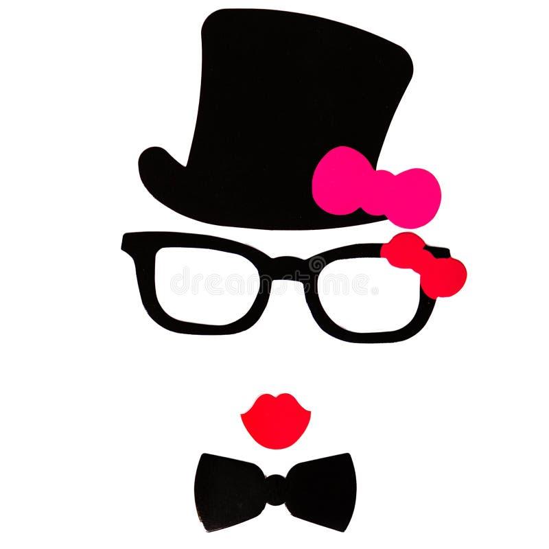 Photobooth生日和党设置了-玻璃,帽子,冠,面具 库存图片