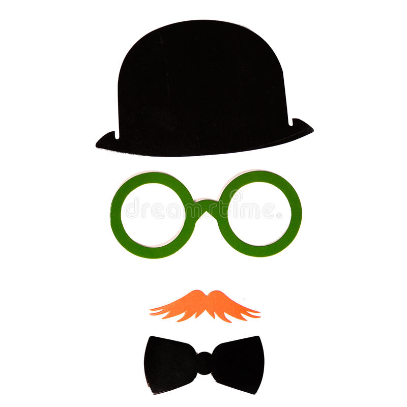 Photobooth生日和党设置了-玻璃,帽子,冠,面具 免版税库存照片